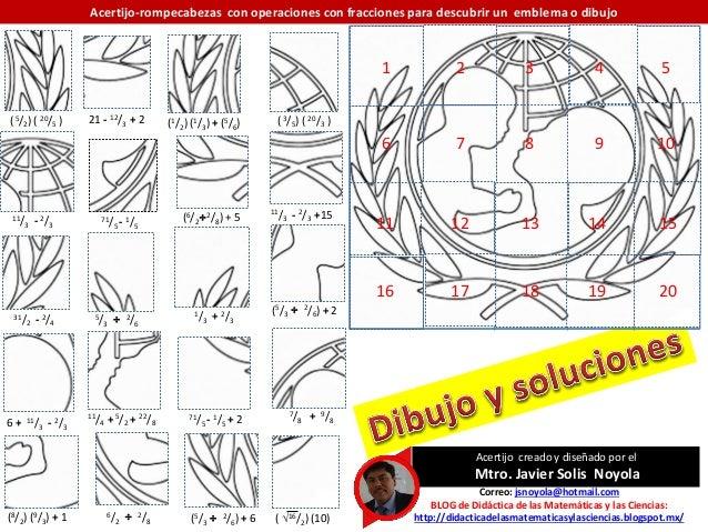 Acertijo-rompecabezas matemático con operaciones con fracciones para formar logotipo de la UNICEF  Slide 2