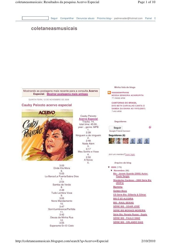 coletaneasmusicais: Resultados da pesquisa Acervo Especial                                                  Page 1 of 10  ...