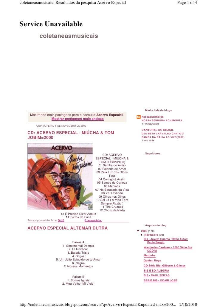 coletaneasmusicais: Resultados da pesquisa Acervo Especial                                                     Page 1 of 4...