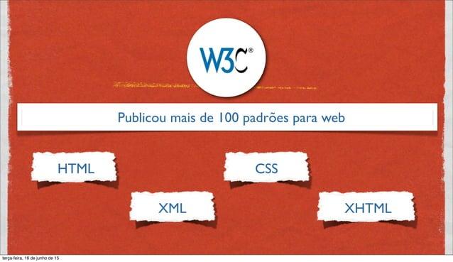 Publicou mais de 100 padrões para web HTML XML CSS XHTML