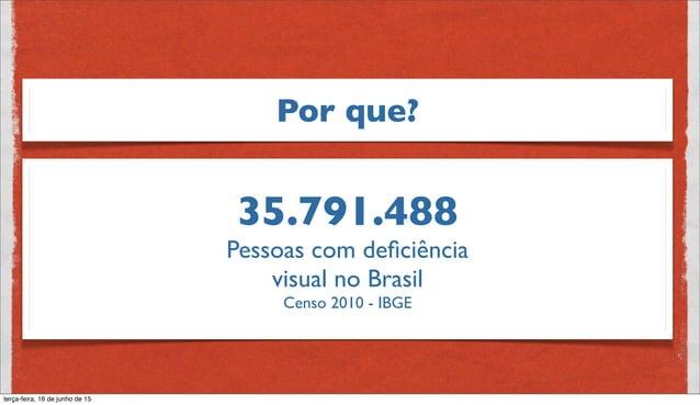 Pessoas com deficiência visual no Brasil Não consegue enxergar 528.624 Grande dificuldade 6.056.684 Alguma dificuldade 29.206...