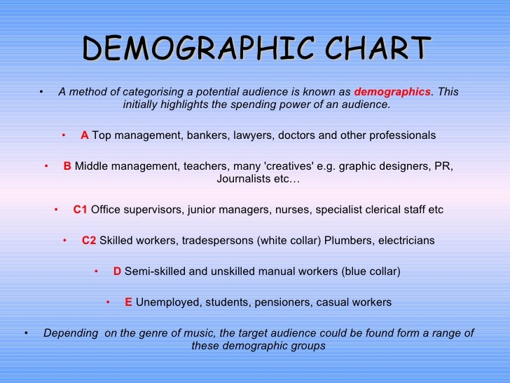DEMOGRAPHIC CHART <ul><li>A method of categorising a potential audience is known as  demographics . This initially highlig...