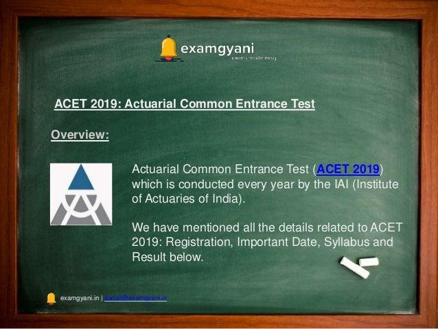 ACET 2019: Registration, Eligibility Criteria, Pattern, Exam