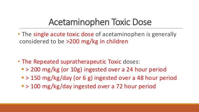 Safe levels of acetaminophen