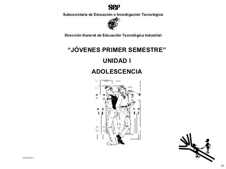 """ACETATO No.1 """" JÓVENES PRIMER SEMESTRE"""" UNIDAD I ADOLESCENCIA 38 Subsecretaría de Educación e Investigación Tecnológica Di..."""