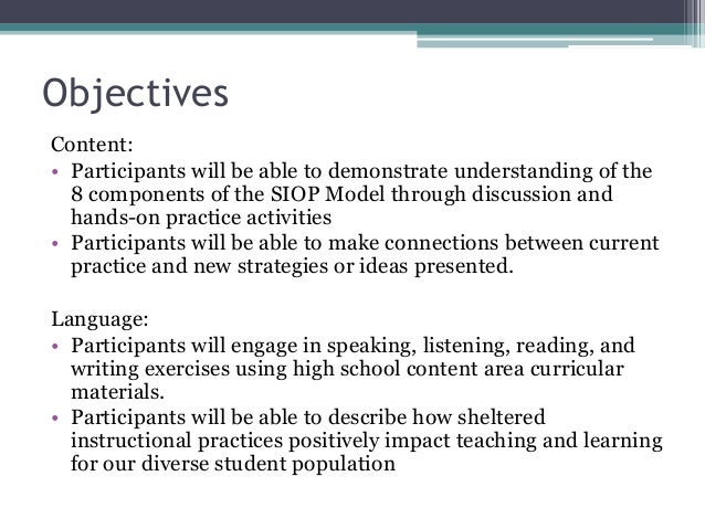 The SIOP model...an Overview Slide 3