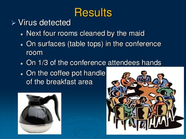 Results  • The number of people with viruses on their hands was reduced in half (50%). The occurrence of viruses in commu...