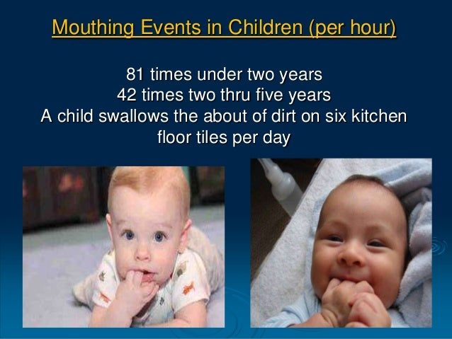 Mouthing Events in Children (per hour) 81 times under two years 42 times two thru five years A child swallows the about of...