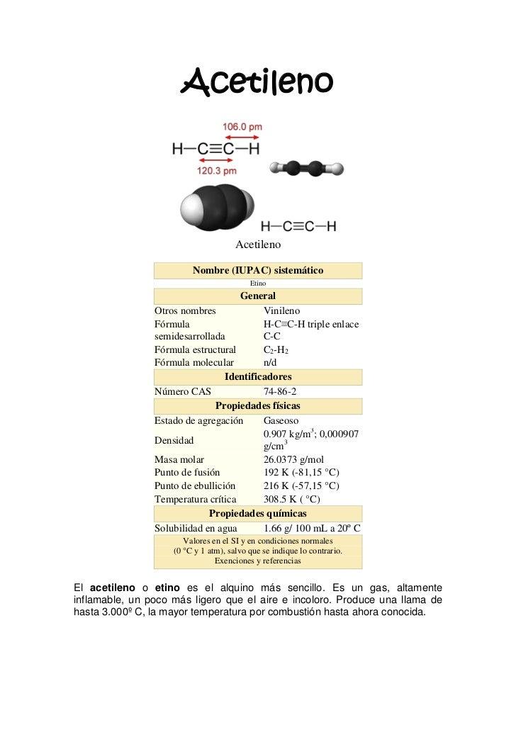 Acetileno                                      Acetileno                         Nombre (IUPAC) sistemático               ...