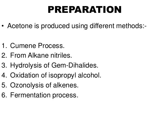 acetone production from isopropyl alcohol Isopropyl alcohol is a colorless,  production isopropyl alcohol is produced by combining water and propene  isopropyl alcohol can be oxidized to acetone, .