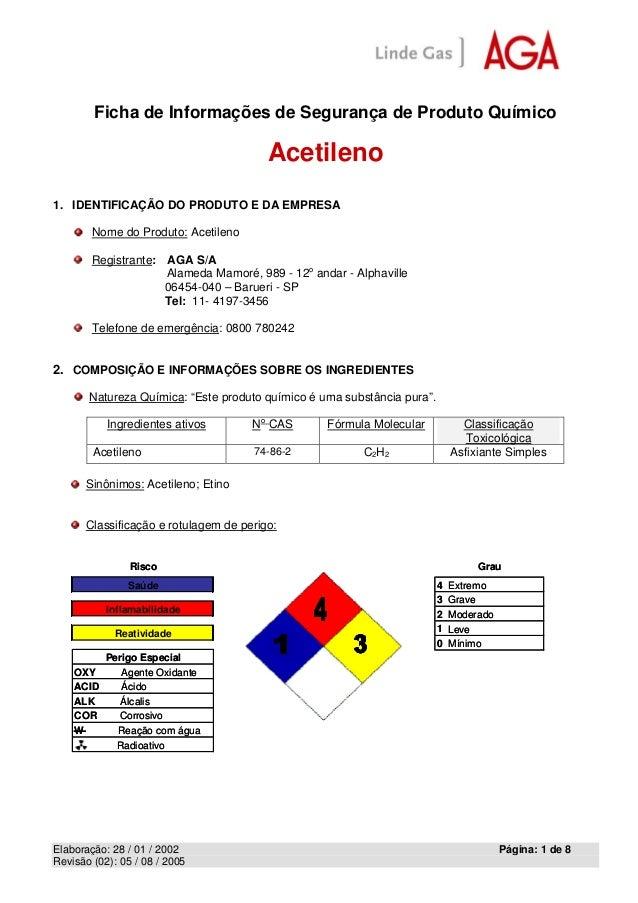 Ficha de Informações de Segurança de Produto Químico  Acetileno  Elaboração: 28 / 01 / 2002 Página: 1 de 8  Revisão (02): ...