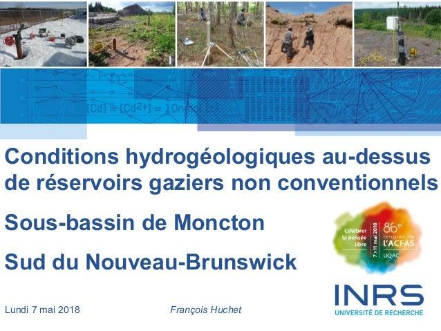 1 Conditions hydrogéologiques au-dessus de réservoirs gaziers non conventionnels Sous-bassin de Moncton Sud du Nouveau-Bru...