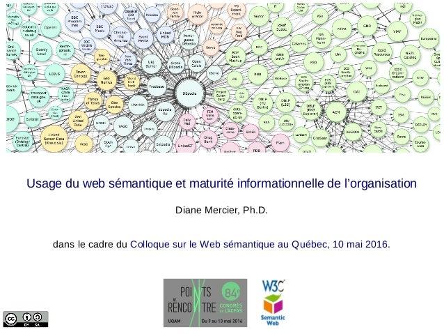 Usage du web sémantique et maturité informationnelle de l'organisation Diane Mercier, Ph.D. dans le cadre du Colloque sur ...