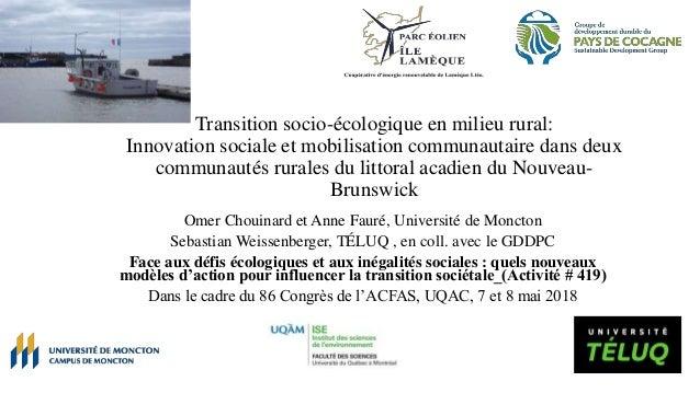 Transition socio-écologique en milieu rural: Innovation sociale et mobilisation communautaire dans deux communautés rurale...