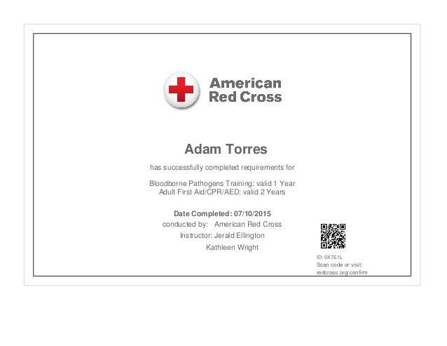 First aid cpr aed bloodborne pathogens certificate for Bloodborne pathogens policy template