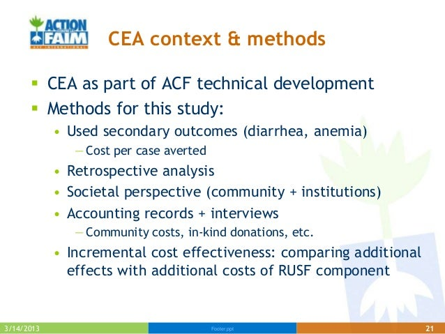 CEA context & methods       CEA as part of ACF technical development       Methods for this study:            • Used sec...