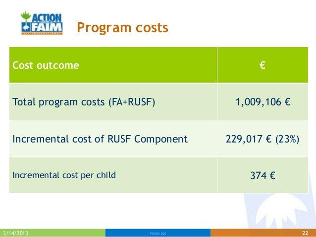 Program costs   Cost outcome                                    €   Total program costs (FA+RUSF)              1,009,106 €...