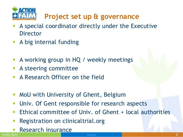 Project set up & governance       A special coordinator directly under the Executive        Director       A big interna...