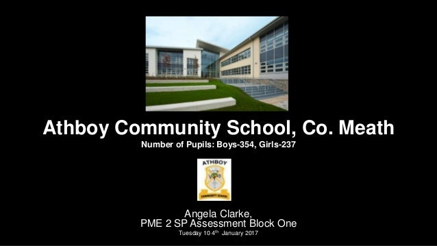 Athboy Community School, Co. Meath Number of Pupils: Boys-354, Girls-237 Angela Clarke, PME 2 SP Assessment Block One Tues...