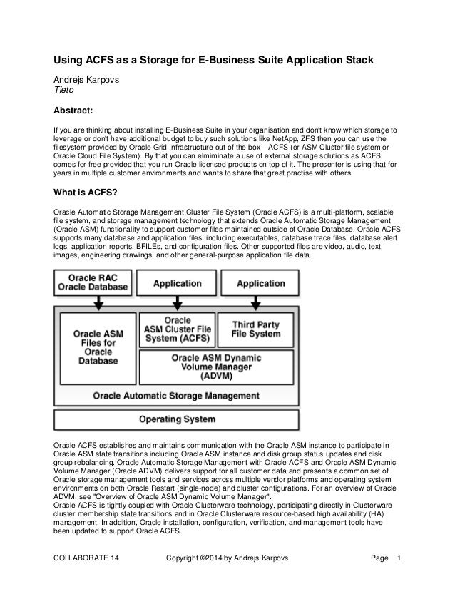 COLLABORATE 14 Copyright ©2014 by Andrejs Karpovs Page 1 Using ACFS as a Storage for E-Business Suite Application Stack An...