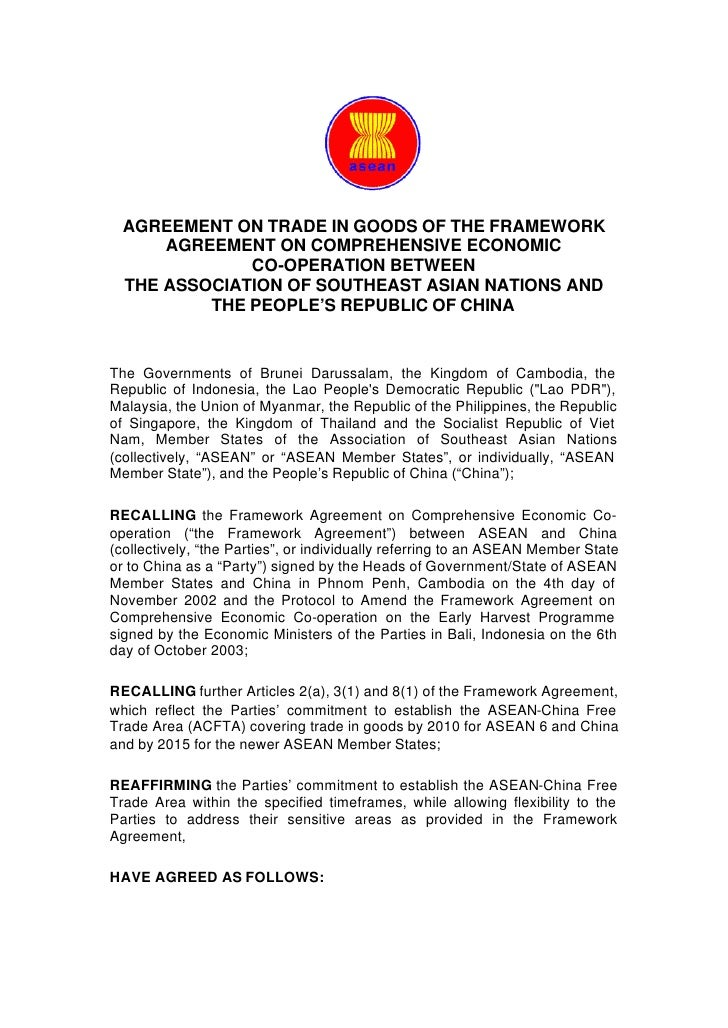 Asean china free trade agreement asean china free trade agreement agreement on trade in goods of the framework agreement on comprehensive economic co operation platinumwayz
