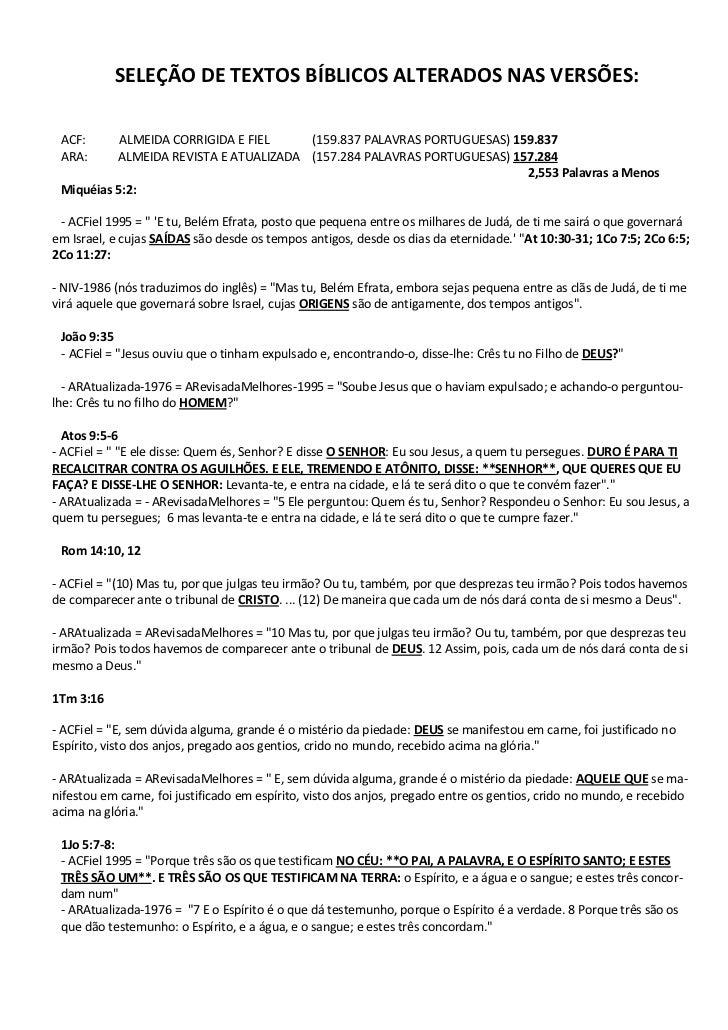 SELEÇÃO DE TEXTOS BÍBLICOS ALTERADOS NAS VERSÕES: ACF:      ALMEIDA CORRIGIDA E FIEL    (159.837 PALAVRAS PORTUGUESAS) 159...