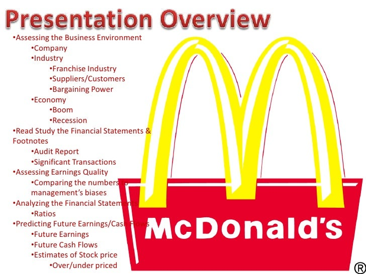 overview of mcdonalds Mcdonald's business opportunities: other information owning a mcdonald's franchise is an easy sell once up and running, the company's international marketing model does the heavy lifting, and provides training support and materials to help its franchisees succeed.