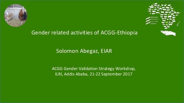 Gender related activities of ACGG-Ethiopia Solomon Abegaz, EIAR ACGG Gender Validation Strategy Workshop, ILRI, Addis Abab...