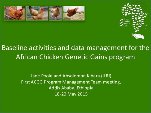 Baseline activities and data management for the African Chicken Genetic Gains program Jane Poole and Absolomon Kihara (ILR...