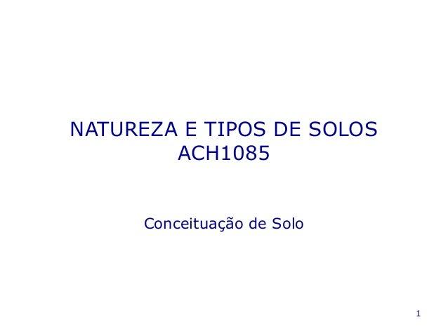 1 NATUREZA E TIPOS DE SOLOS ACH1085 Conceituação de Solo