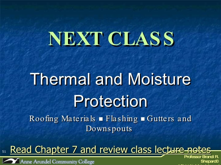 Ach 121 Lecture 11a Thermal Amp Moisture Protection