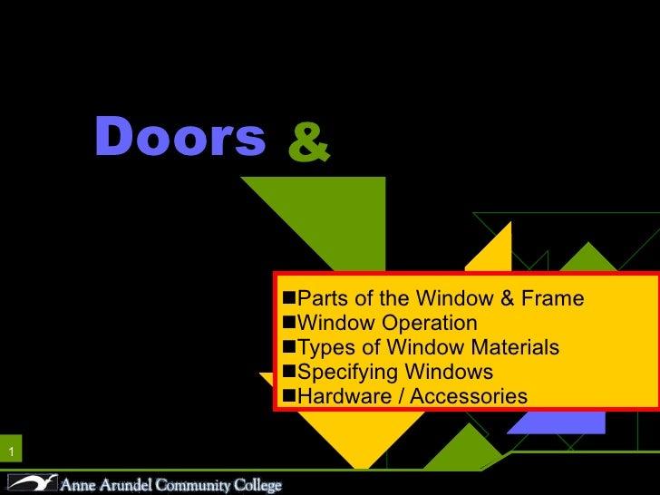 Doors <ul><li>Parts of the Window & Frame </li></ul><ul><li>Window Operation </li></ul><ul><li>Types of Window Materials <...