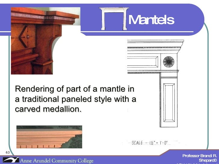 Rendering of part of a mantle in a traditional paneled style with a carved medallion. Mantels