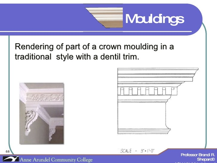 Rendering of part of a crown moulding in a traditional  style with a dentil trim. Mouldings
