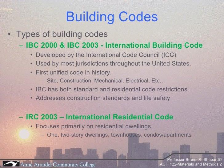ACH 122 Lecture 01 Bldg Codes