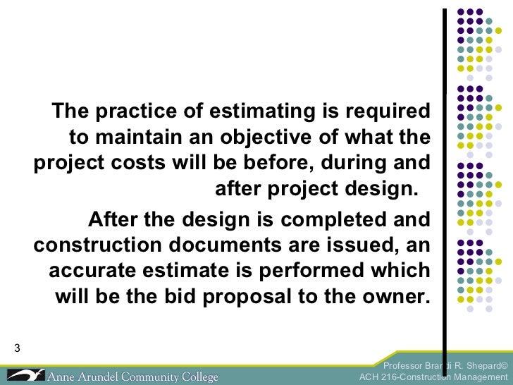 ACH 216 Lecture 04a (Estimating) Slide 3