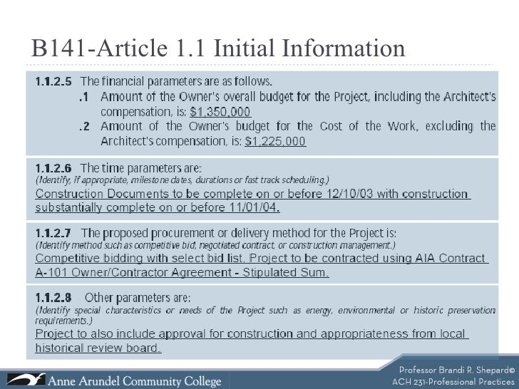 Aia b141 contract