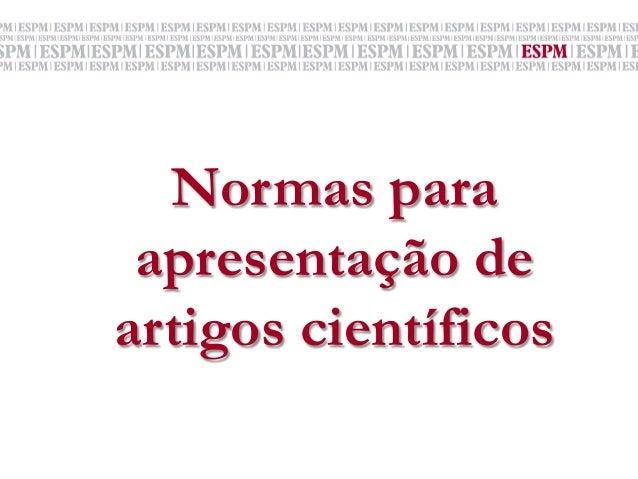 Normas para apresentação de artigos científicos