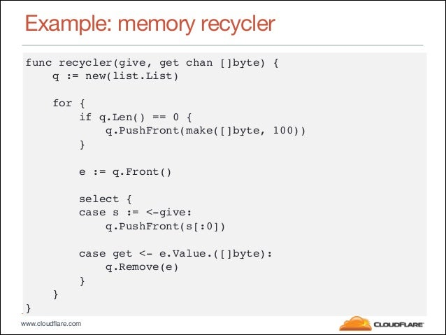 """www.cloudflare.com Example: memory recycler func recycler(give, get chan []byte) {"""" q := new(list.List)"""" ! for {"""" if q.Len..."""