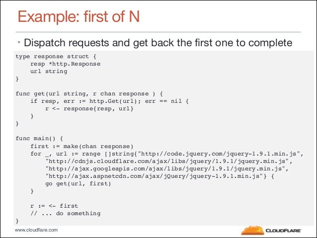 """www.cloudflare.com Example: first of N • Dispatch requests and get back the first one to complete type response struct {"""" ..."""