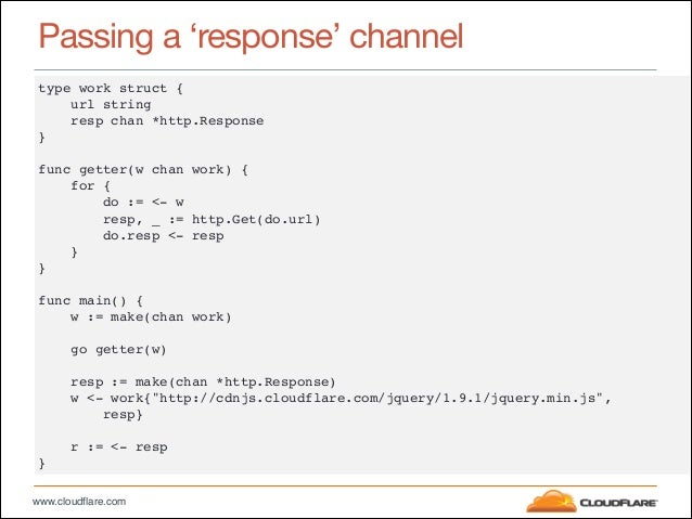 """www.cloudflare.com Passing a 'response' channel type work struct {"""" url string"""" resp chan *http.Response"""" }"""" ! func getter..."""