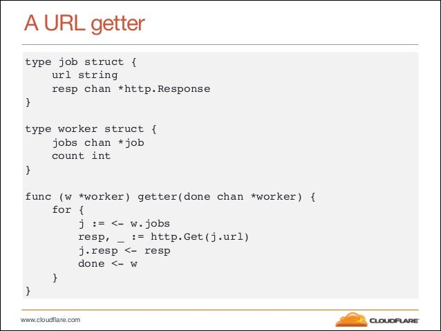 "www.cloudflare.com A URL getter type job struct {"" url string"" resp chan *http.Response"" }"" ! type worker struct {"" jobs c..."