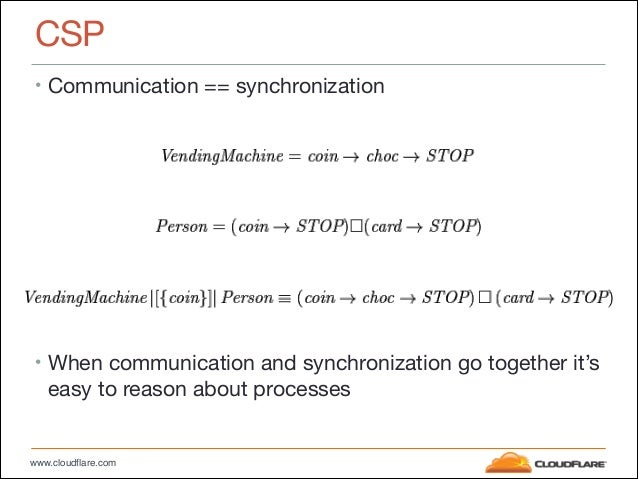 www.cloudflare.com CSP • Communication == synchronization  ! ! ! ! ! ! ! ! • When communication and synchronization go tog...