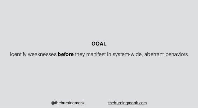 @theburningmonk theburningmonk.com identify weaknesses before they manifest in system-wide, aberrant behaviors GOAL