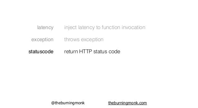 @theburningmonk theburningmonk.com latency exception statuscode diskspace inject latency to function invocation throws exc...