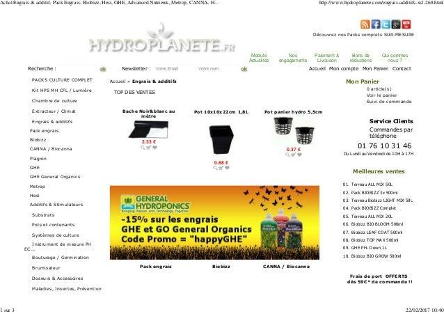 achat engrais additif pack engrais biobizz hesi ghe