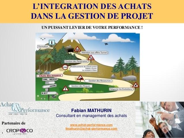 Fabian MATHURIN Consultant en management des achats www.achat-performance.com fmathurin@achat-performance.com L'INTEGRATIO...