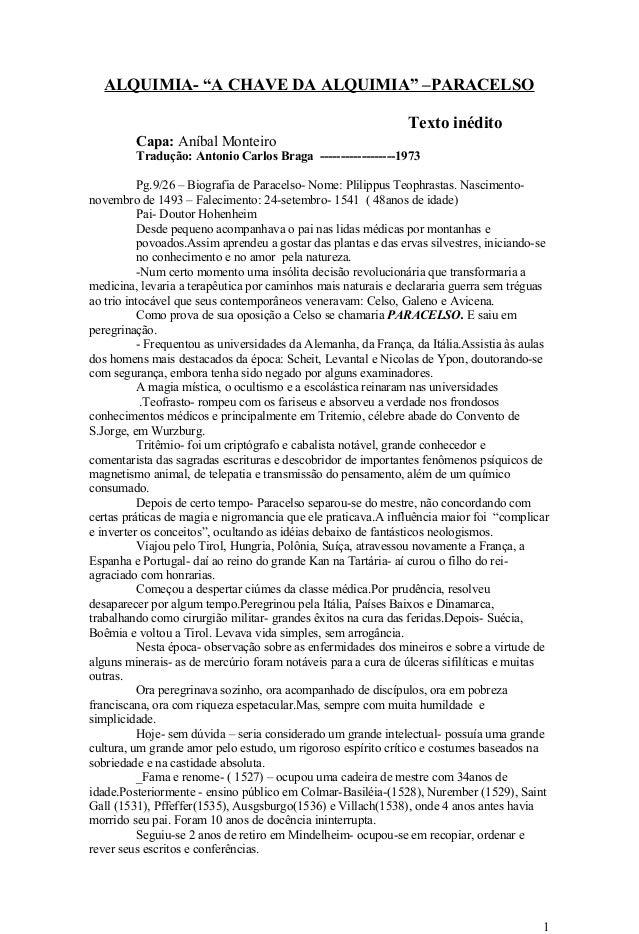"""ALQUIMIA- """"A CHAVE DA ALQUIMIA"""" –PARACELSO Texto inédito Capa: Aníbal Monteiro Tradução: Antonio Carlos Braga ------------..."""
