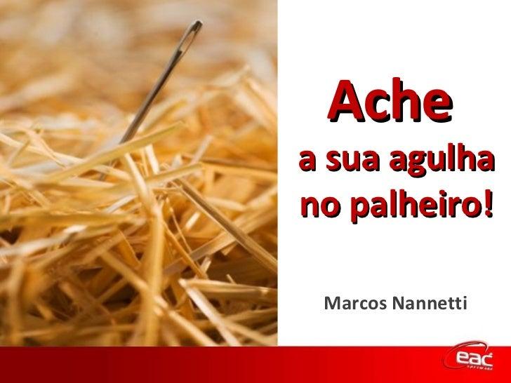 Ache  a sua agulha no palheiro! Marcos Nannetti