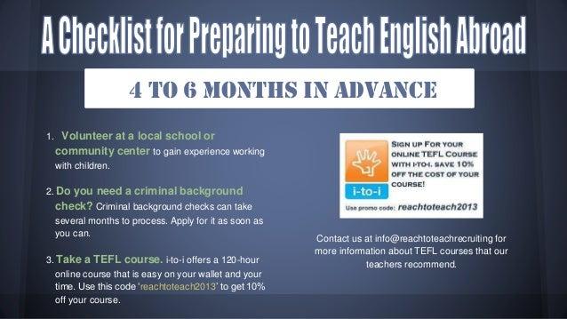 A Checklist for Preparing to Teach English Abroad Slide 3